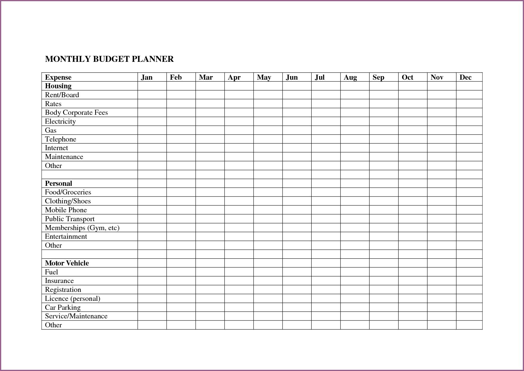 A Sample Budget Spreadsheet