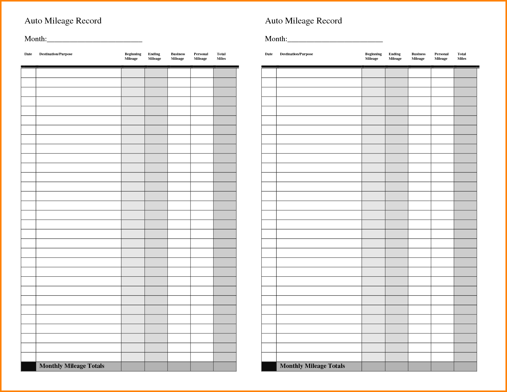 Business Mileage Claim Form Template And Business Mileage Form Template