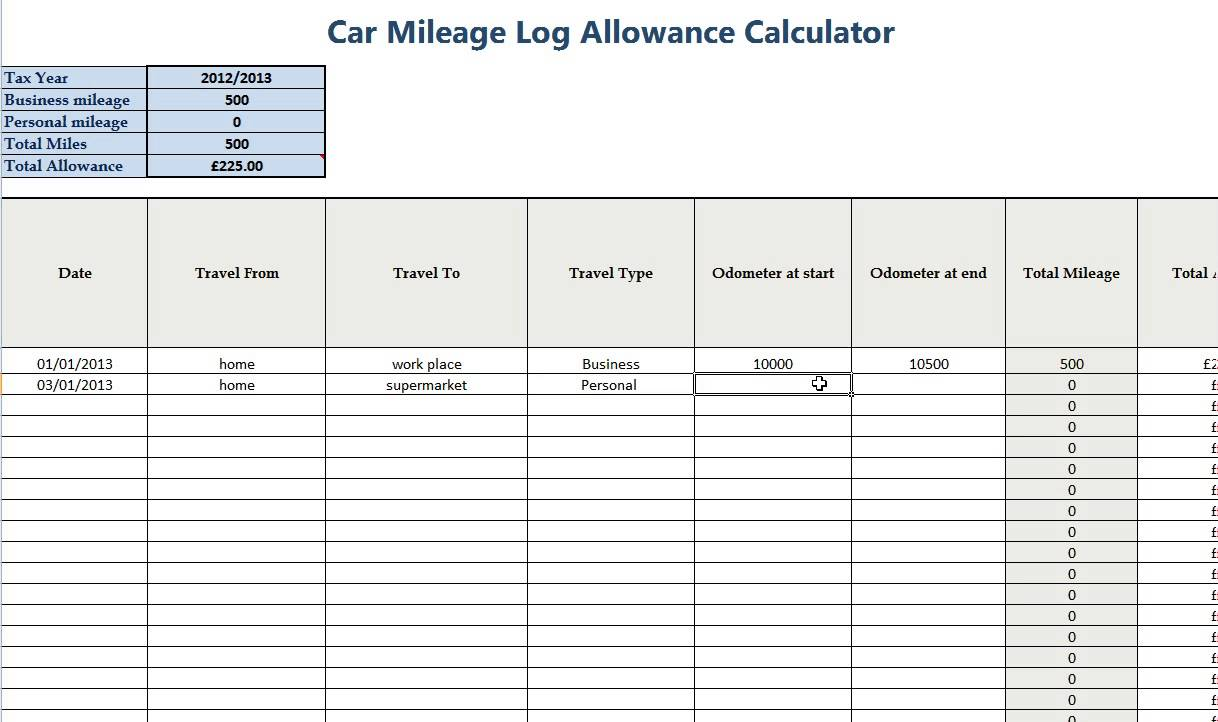 Business Mileage Spreadsheet And Business Mileage Tracker Template