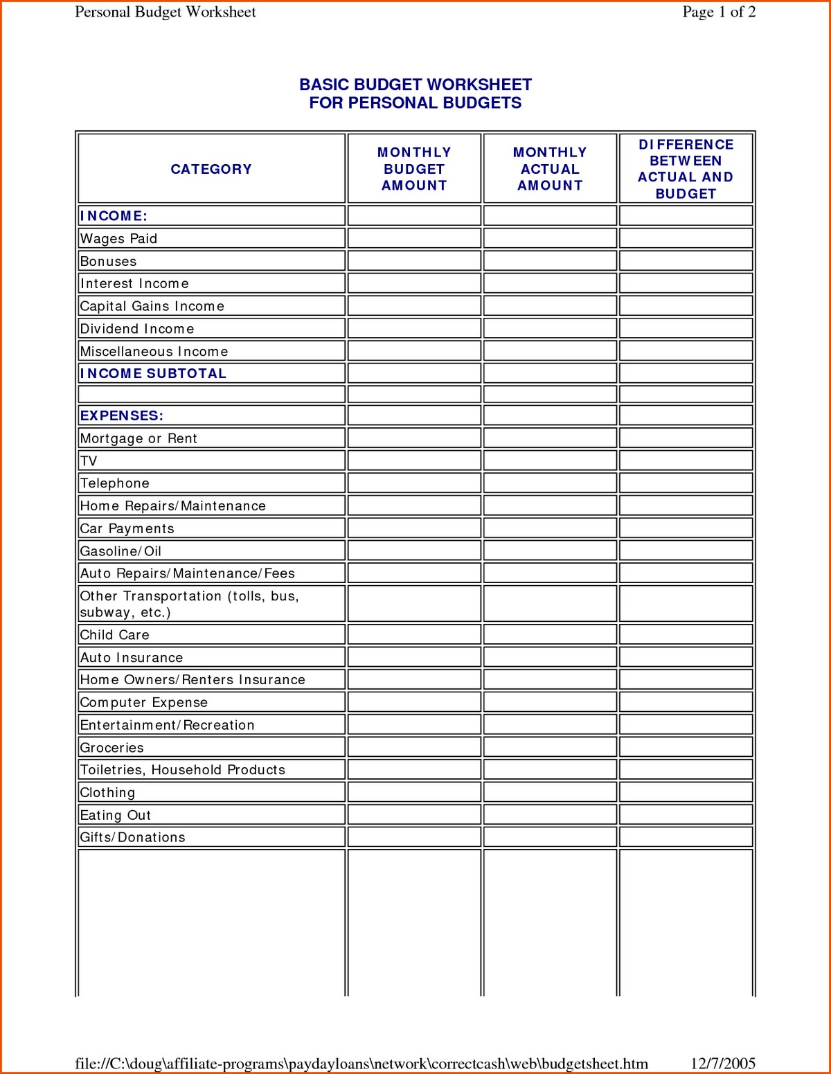 Dave Ramsey Budget Worksheet