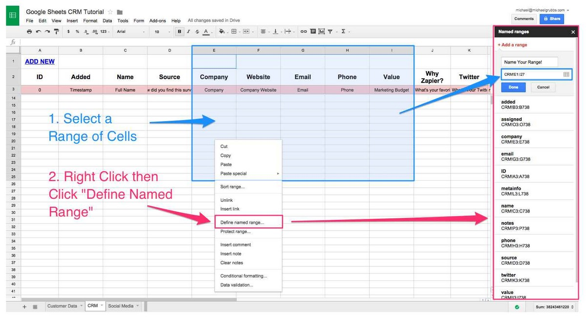 Define Spreadsheet