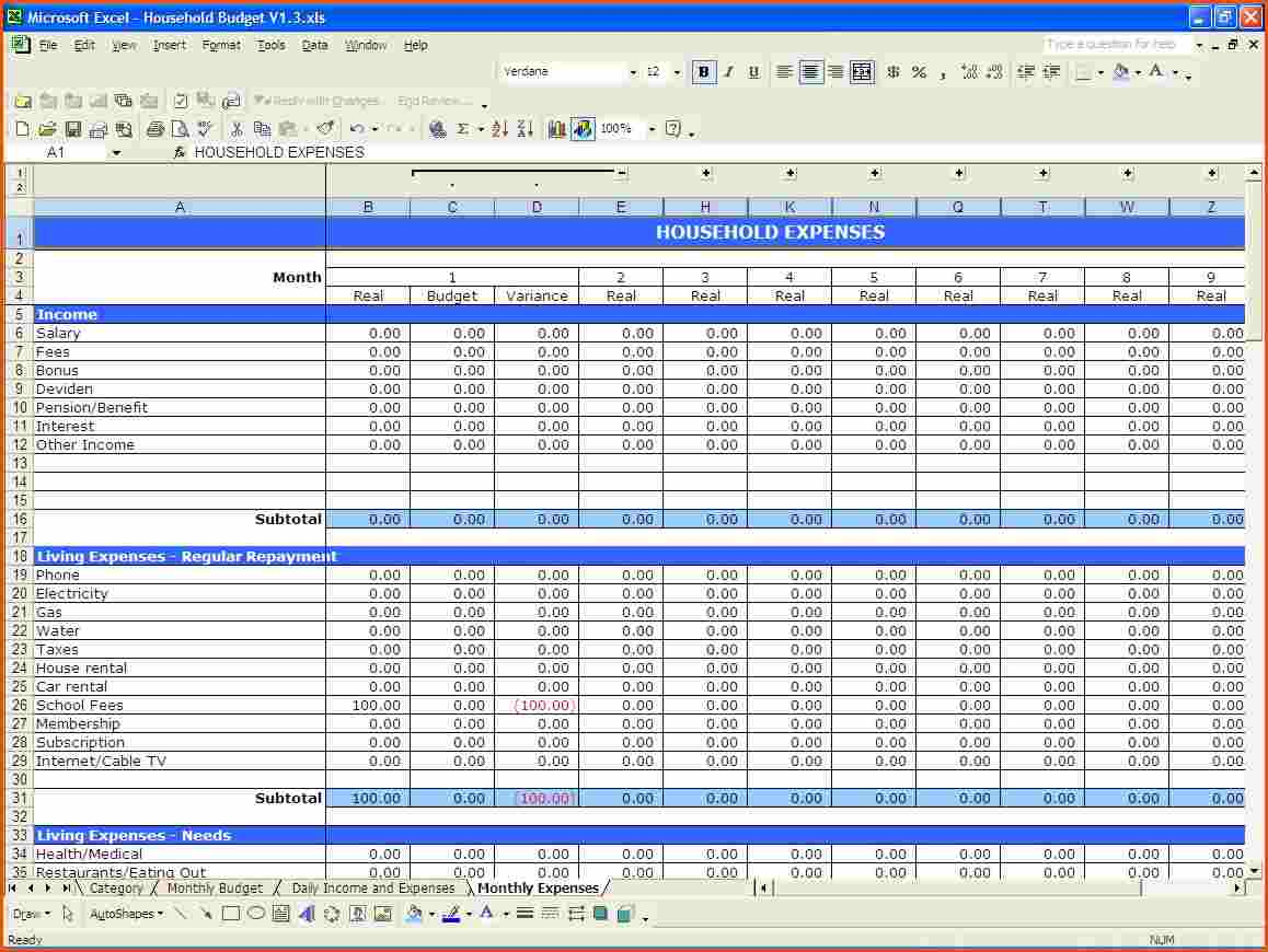 Excel Spreadsheet For Budget Household