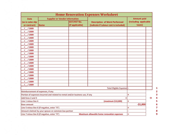 Home Renovation Checklist Template