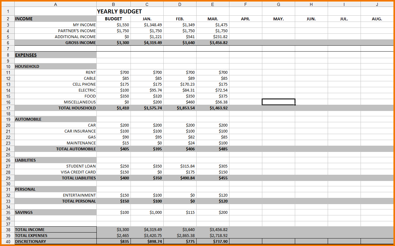 Sample Budget Worksheet Excel