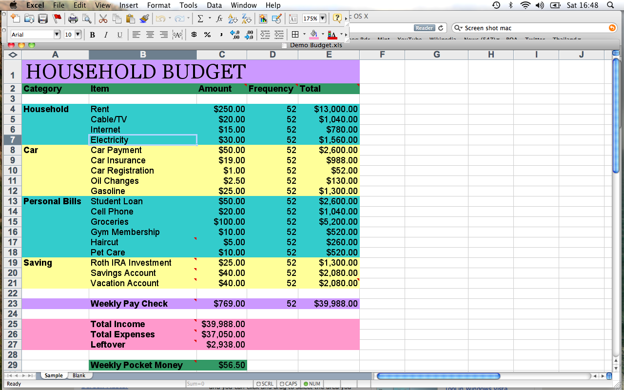 Spreadsheet Template For Household Budgeting