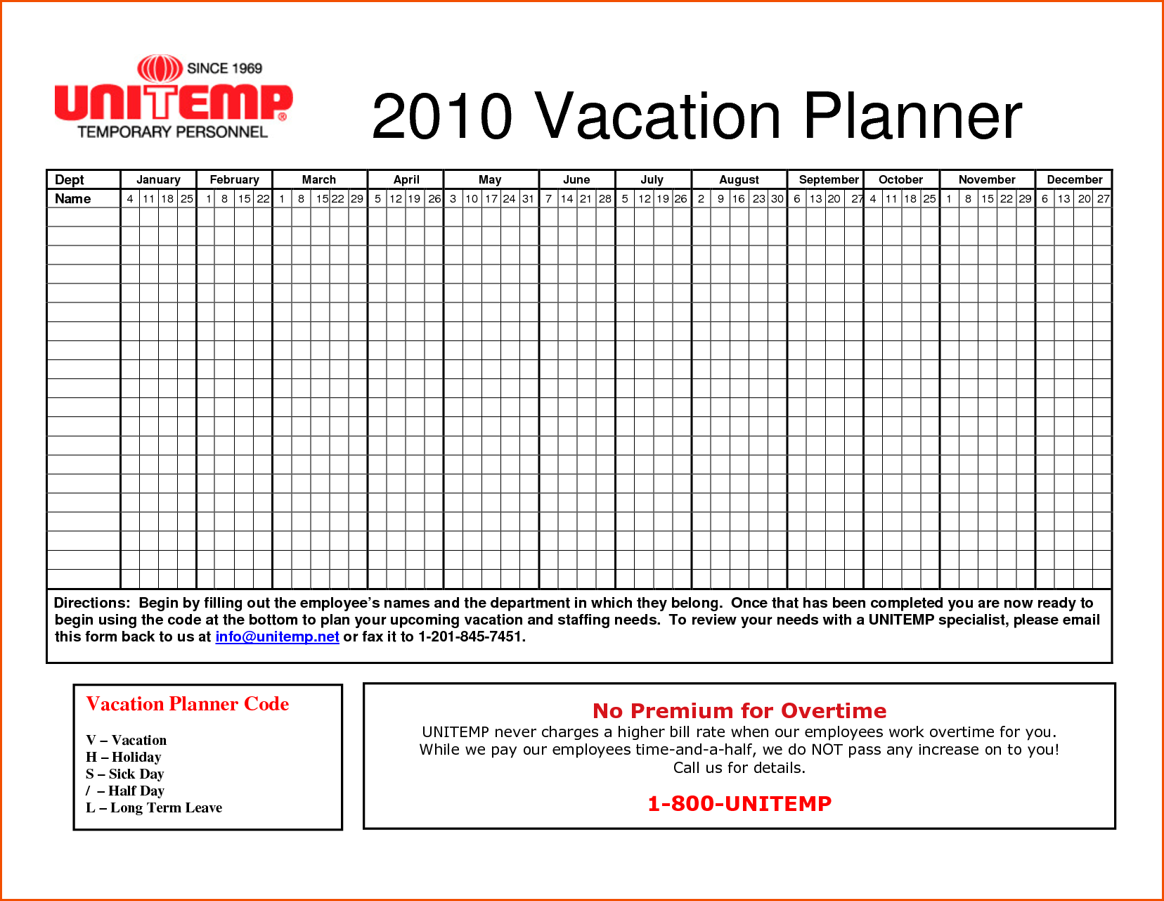 Vacation Tracking Spreadsheet