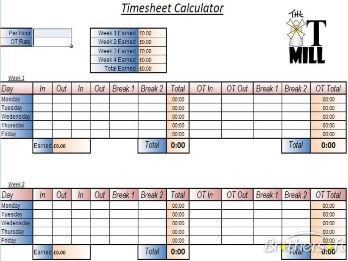 Excel Formula To Calculate Hours Worked And Overtime