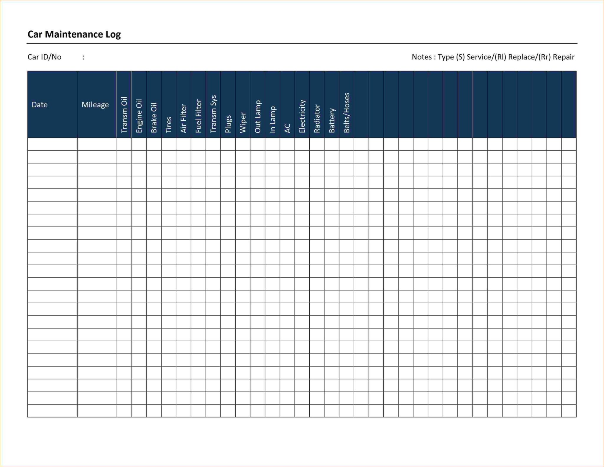 Free Preventive Maintenance Template Excel Download