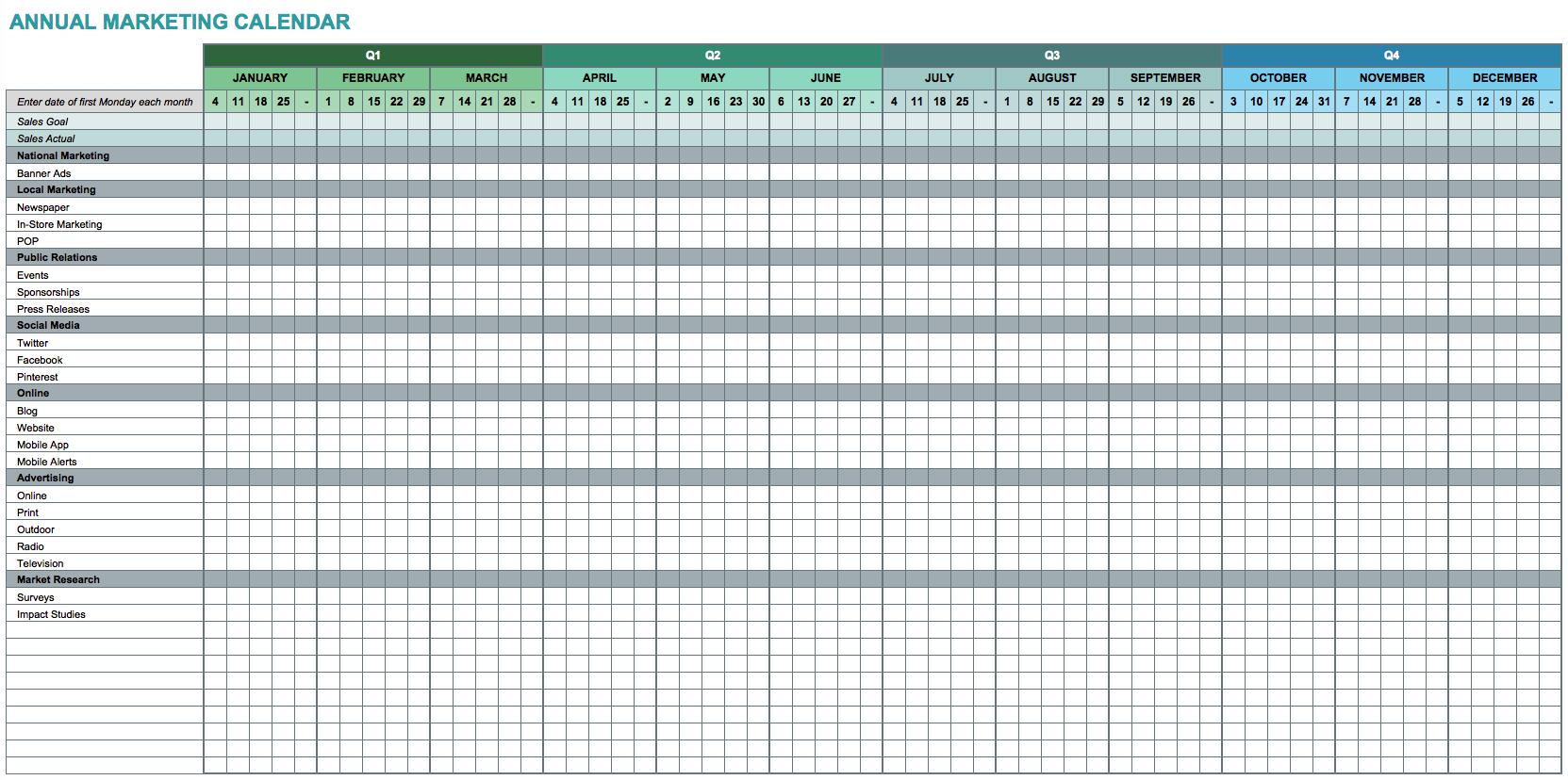 Google Spreadsheet With Calendar