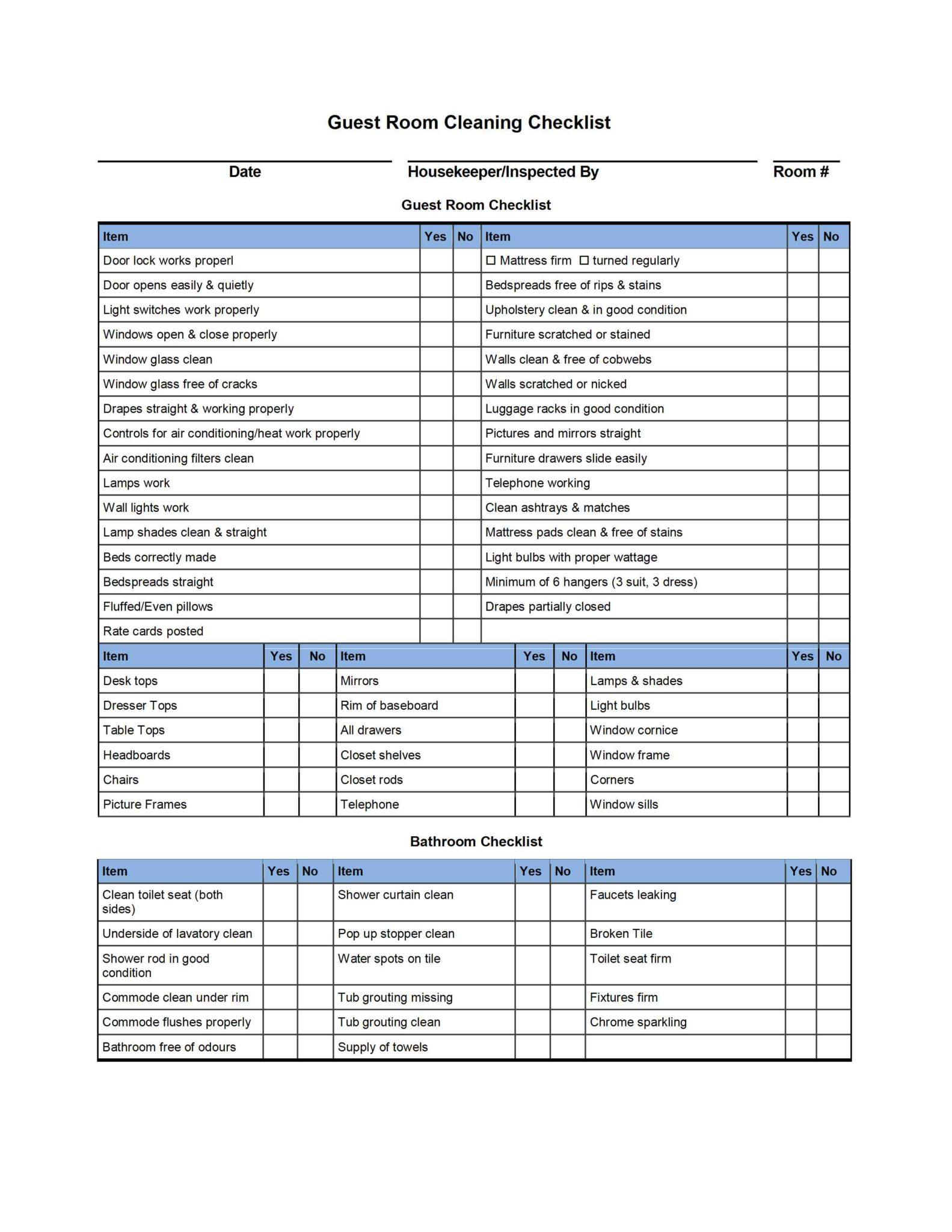 Hotel Inventory List Sample
