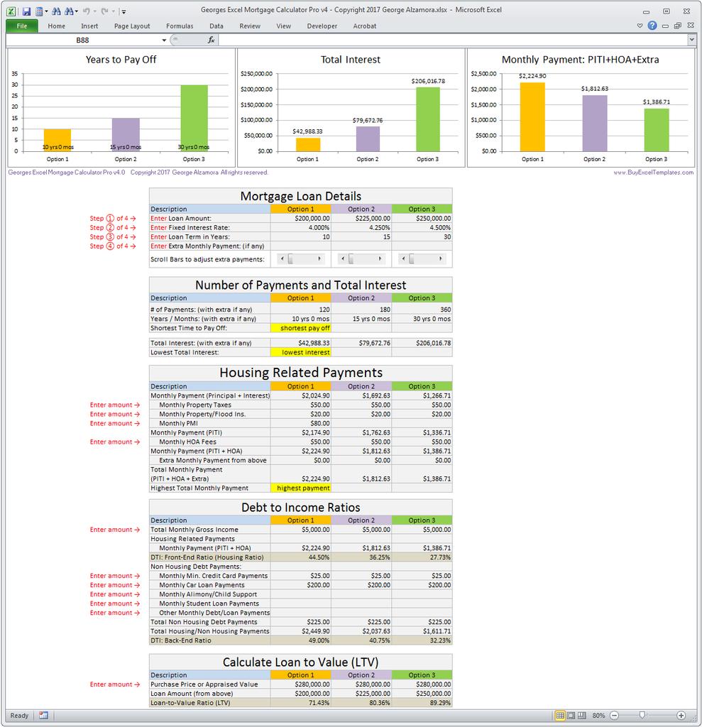 Mortgage Comparison Spreadsheet
