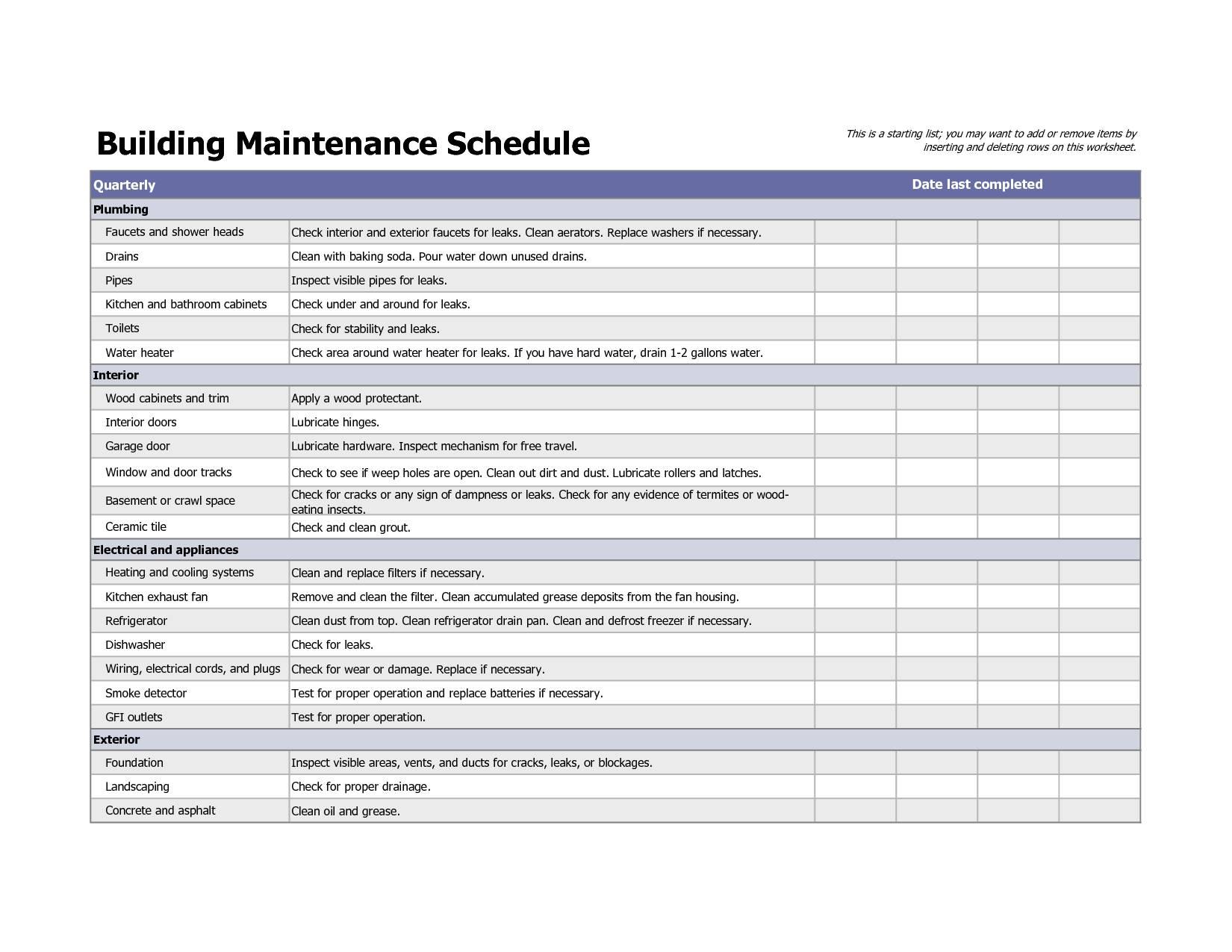 Preventive Maintenance Templates For Excel