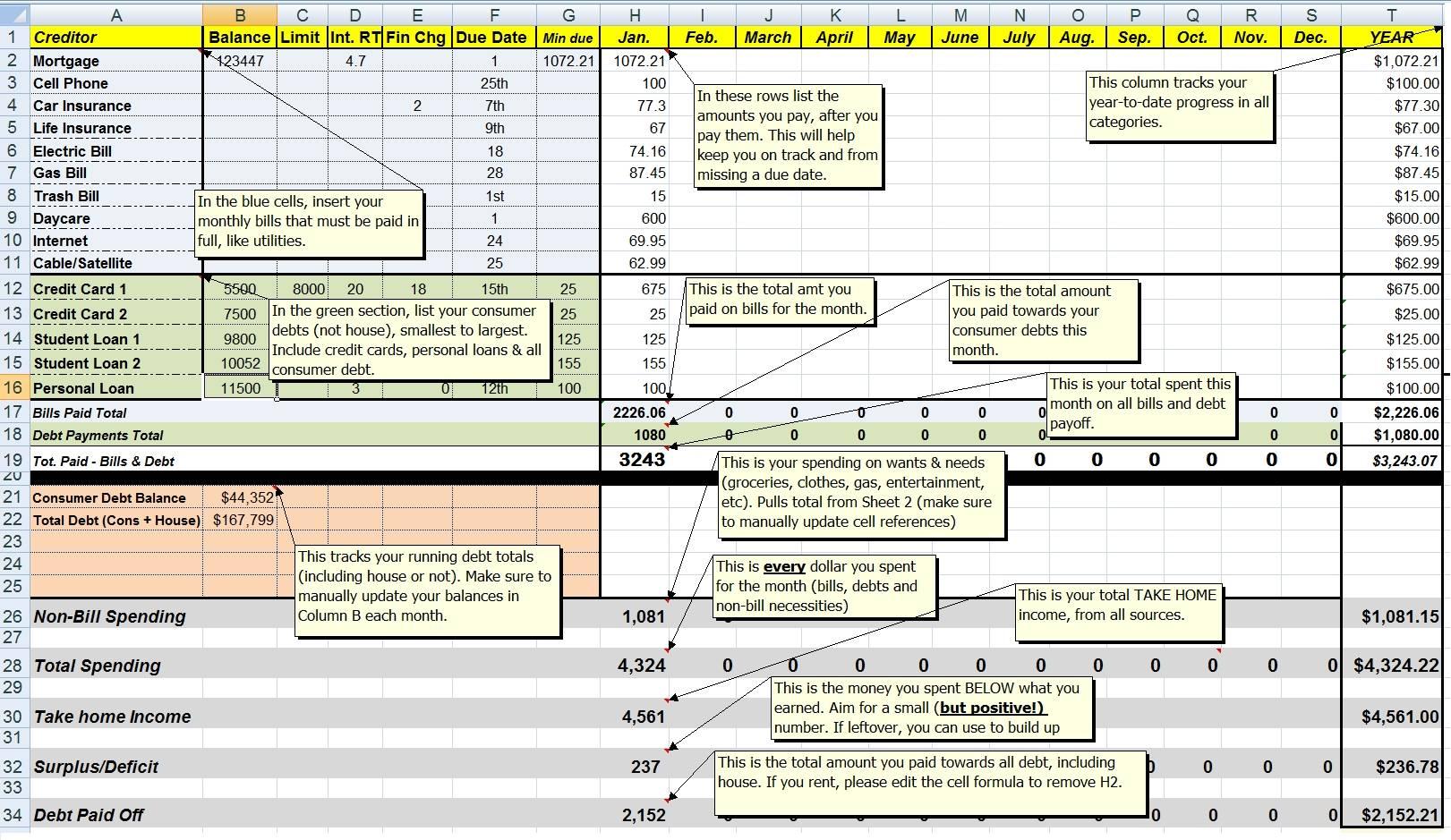 Snowball Debt Calculator Spreadsheet