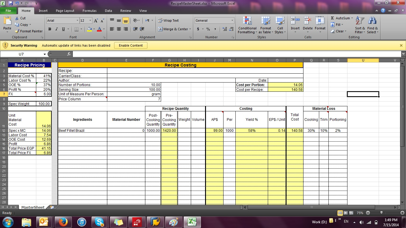 Bakery Costing Spreadsheet templates free