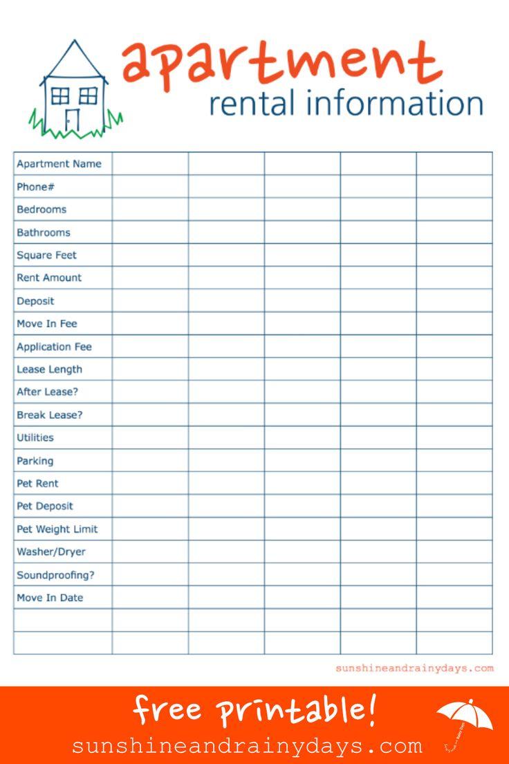apartment comparison sheet free