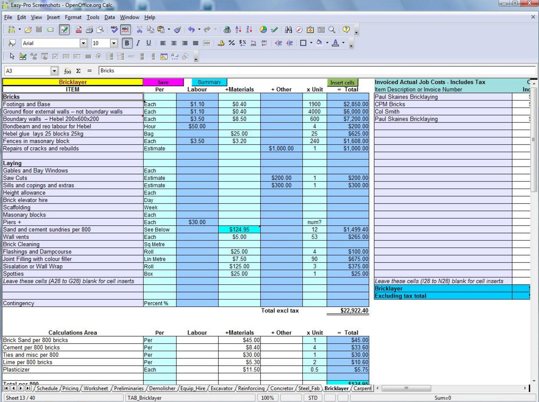 construction job costing spreadsheet free