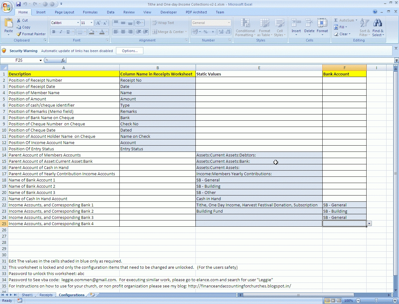 free church tithe and offering spreadsheet templates download