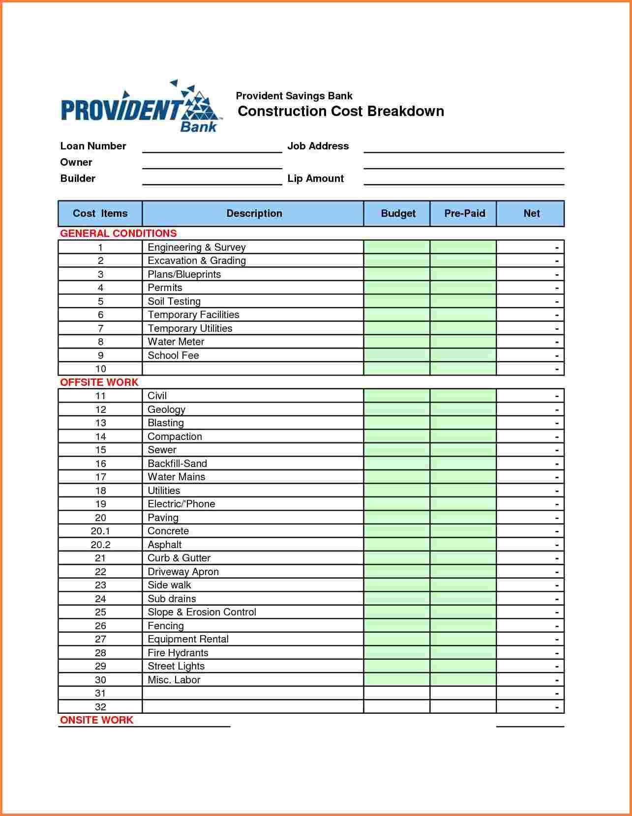 templates construction cost breakdown spreadsheet