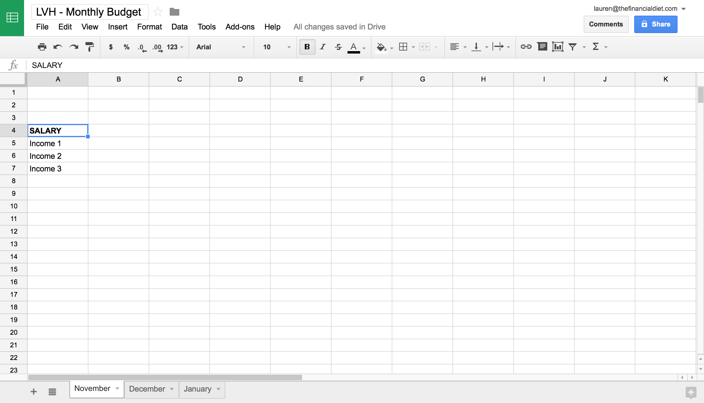 creating a budget in excel template