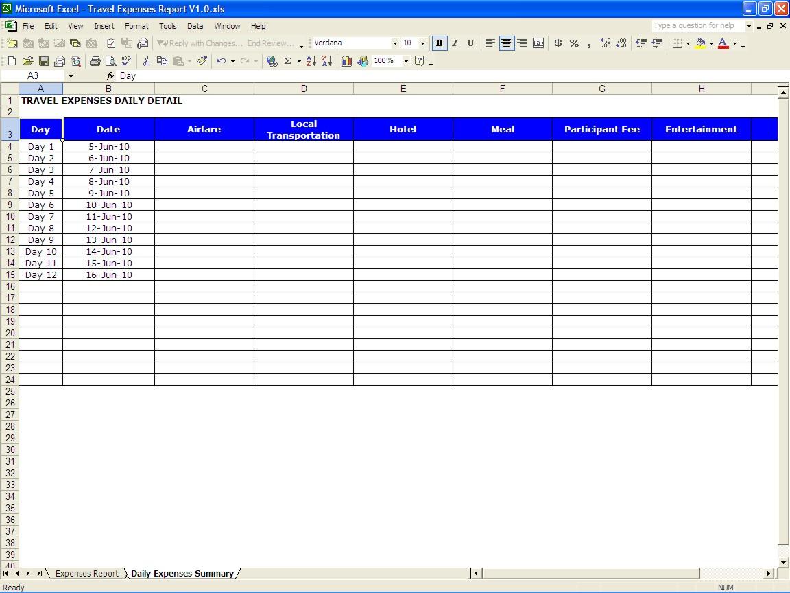 Free Travel Spreadsheet Excel Templates