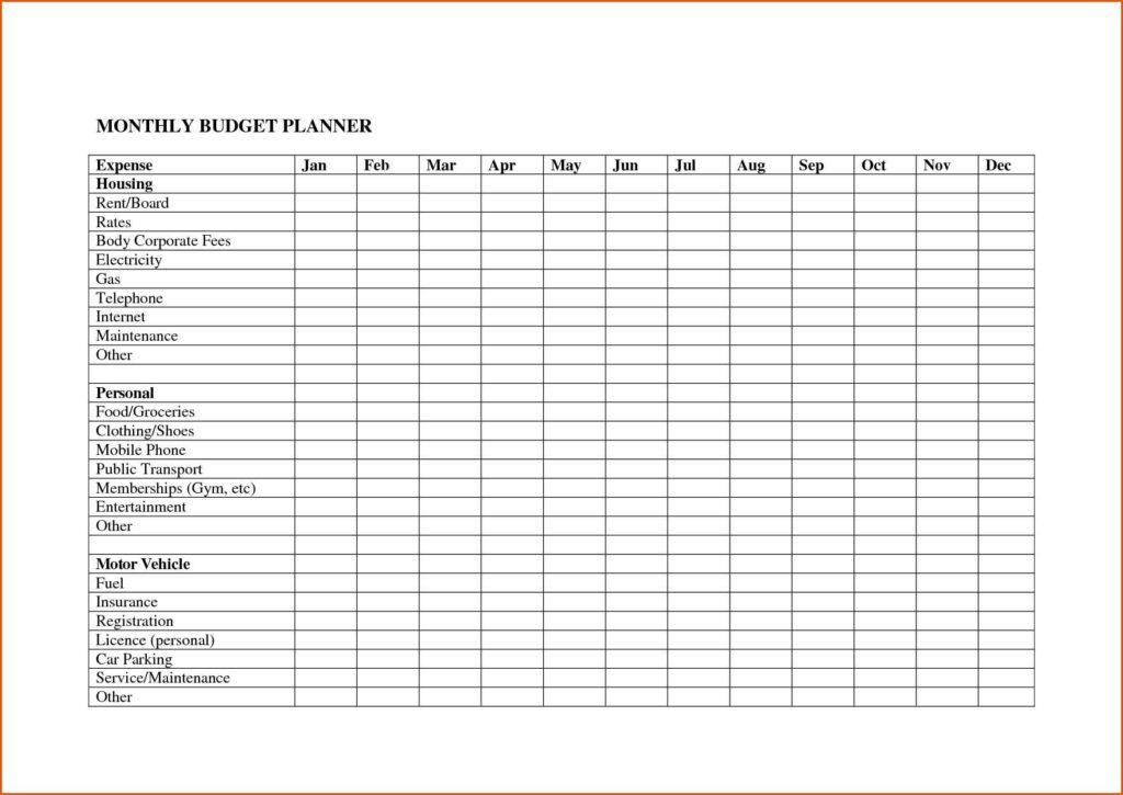 Spreadsheet For Household Bills