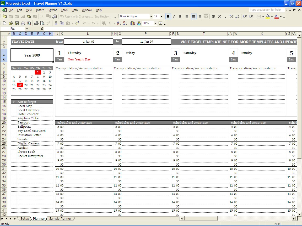 Travel Spreadsheet Excel Templates