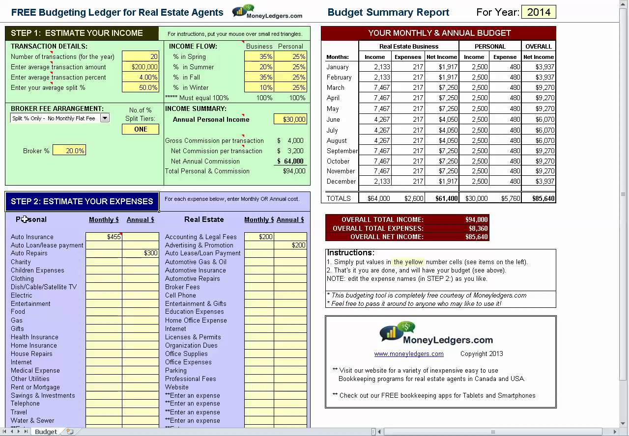 real estate agent expense tracking spreadsheet