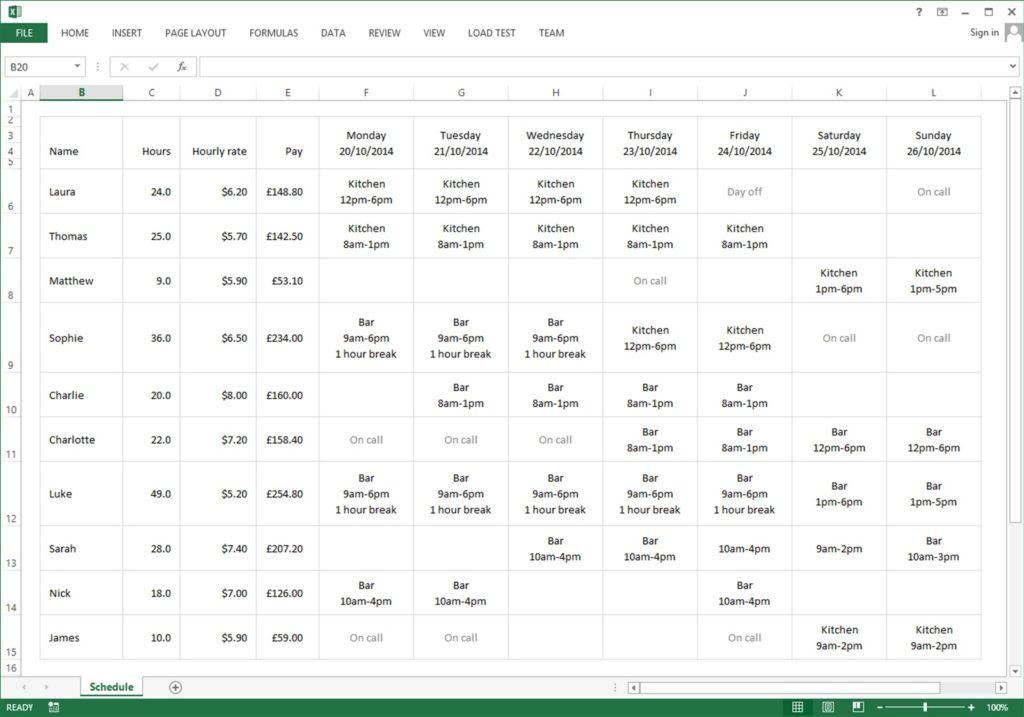 Employee Schedule Excel Spreadsheet