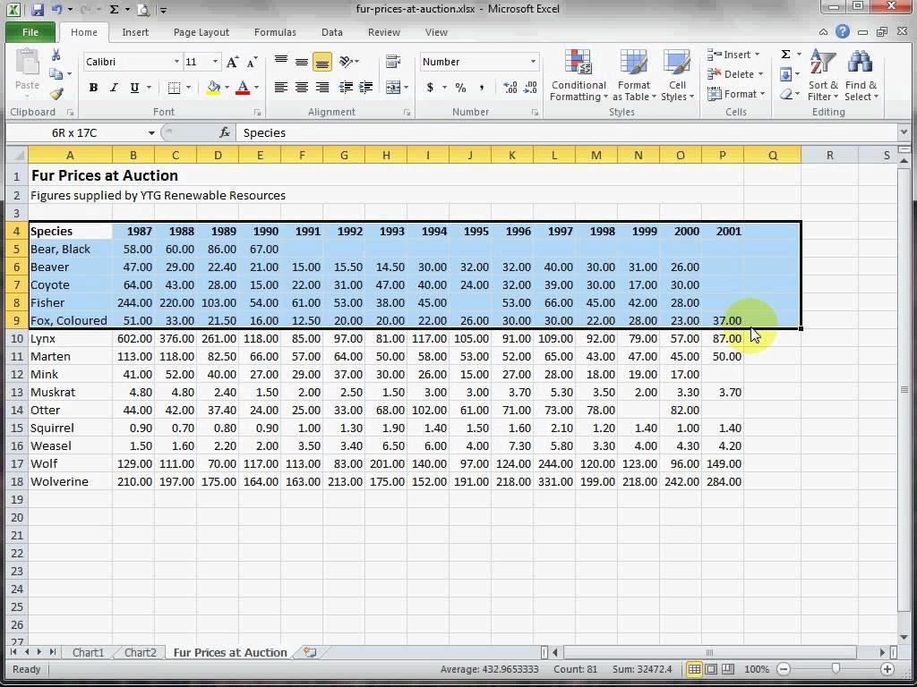 Excel Spreadsheet Practice Exercises