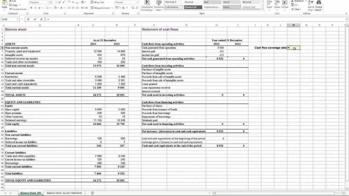 financial ratio analysis spreadsheet